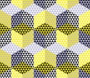 Yellow and gray geometry hexagon seamless fabric Royalty Free Stock Photo