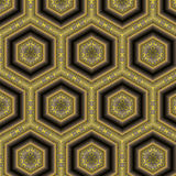 Yellow and Gray Hexagonal Tile Pattern Royalty Free Stock Images