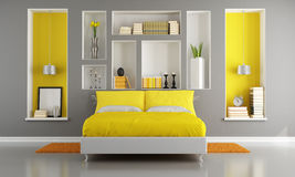 Yellow and gray modern bedroom Stock Photography