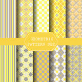 Yellow and gray patterns. 10 yellow and gray patterns,  Pattern, Swatches vector Endless texture can be used for wallpaper, pattern fills, web page,background Royalty Free Stock Photos