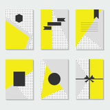 Yellow, gray, and white dotted backgrounds cards templates set Stock Photography
