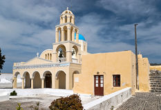 Yellow greek church Royalty Free Stock Photo