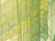 Yellow green abstract fractal with curved lines. On a white background stock illustration