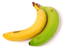Yellow and green banana isolated on white background Stock Images
