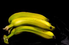Yellow and green Banana`s hiding in the dark. Fruits of four different banana cultivars Stock Photo