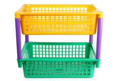Yellow and green basket Stock Images
