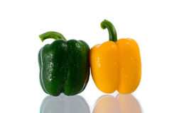 Yellow and green Bell Pepper. Stock Images
