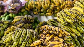 Yellow and green bio bananas Royalty Free Stock Photography