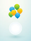 Yellow green blue balloons Royalty Free Stock Image