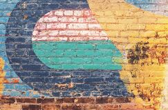 Yellow Green and Blue Brick Wall Royalty Free Stock Photography