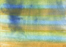 Yellow blue abstract rainbow painting. Yellow, green and blue rainbow stripes stock illustration