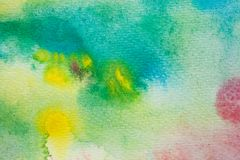 Yellow, green and blue watercolor brush strokes. Background for design. Colorful hand painted watercolor background. Watercolor painting texture and background Royalty Free Stock Image