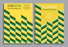 Yellow green book cover templates with optical motion illusion design vector illustration
