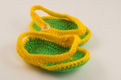 Yellow and green booties stock images