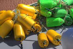 Yellow and Green Buoys stock image