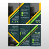 Yellow Green business trifold Leaflet Brochure Flyer report template vector minimal flat design set, abstract three fold Royalty Free Stock Photo
