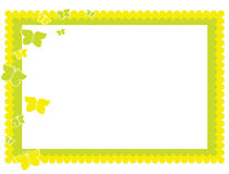 Yellow green butterfly frame. Purple butterfly pastel vector background - 4th of set of 4 pastel butterfly backgrounds vector illustration