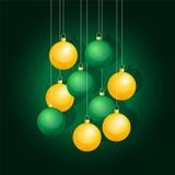 Yellow and green Christmas balls Royalty Free Stock Photography