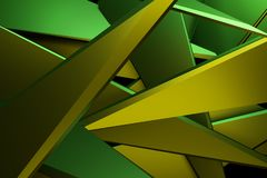 Yellow and green color abstract 3d rendering technology backgrou. Nd stock illustration