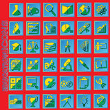 Yellow and green color education icons in blue square Royalty Free Stock Image