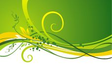 Yellow-green design. With waves & leaves Royalty Free Stock Images