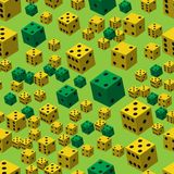 Yellow Green Dice Seamless Pattern, 3D illustration. On Green Background royalty free illustration