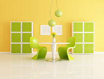 Yellow and green dining  room. Bright contemporary yellow and green dining room - rendering Stock Photo