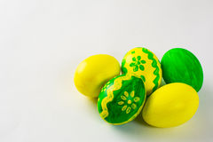 Yellow and green Easter eggs Stock Image