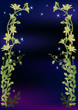 Yellow and green flowers design on dark blue Stock Photography