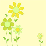 Yellow and Green Flowers Illustration. Yellow and green flower card floral arrangement on yellow background, flower illustration, green leaves, flowers Royalty Free Stock Photography