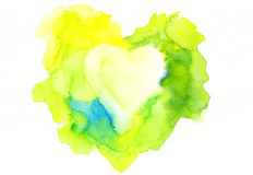 Yellow and green framed heart watercolor painting Stock Photos