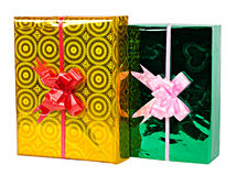 Yellow and green gift boxes Royalty Free Stock Photos