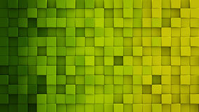 Yellow green gradient cubes 3D render. Yellow green gradient extruded cubes mosaic. Geometric 3D render illustration. Computer generated abstract background Royalty Free Stock Photo