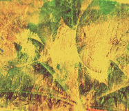 Yellow, green grunge collage autumn leafs. Background royalty free illustration