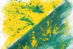 Yellow-green hand-painted gouache stroke daub texture. Yellow-green abstract hand-painted gouache brush stroke daub background texture Royalty Free Stock Photography