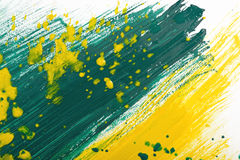 Yellow-green hand-painted gouache stroke daub texture. Yellow-green abstract hand-painted gouache brush stroke daub background texture Royalty Free Stock Photo