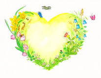 Yellow and green heart watercolor painting with spring related themes. A yellow and green heart watercolor painting with spring related themes stock illustration