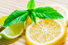Yellow and green juicy lemon and mint leaves Stock Image
