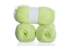 Yellow green knitting yarn Stock Image