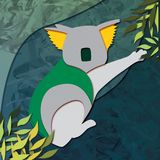 Yellow and Green Koala Illustration against a Blue Green Background. Illustration of a koala (Phascolarctos cinereus) against a textured blue-green Royalty Free Stock Photo