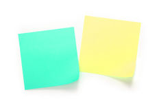 Yellow and green note paper Royalty Free Stock Images
