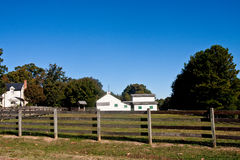 Yellow and Green Outbuildings at a Farm Royalty Free Stock Photo