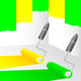 Yellow and green paint. Royalty Free Stock Photo