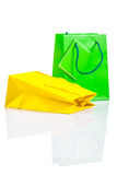 Yellow and green paper bag  Royalty Free Stock Images