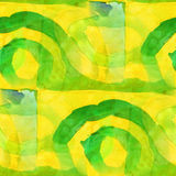 Yellow, green pattern design seamless watercolor Stock Images