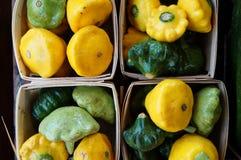 Yellow and green pattypan summer squash Stock Photo
