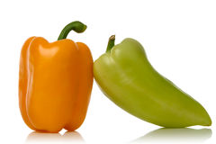 Yellow and green peppers. Isolated over white background Stock Photo