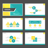 Yellow and green presentation template Infographic elements and icon flat design set advertising marketing brochure flye. Yellow and green presentation template royalty free illustration