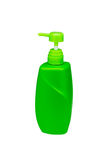 Yellow green pump bottle. Isolated on white Royalty Free Stock Photo