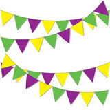 Yellow green and purple flags. Background for Mardi Gras. Royalty Free Stock Image